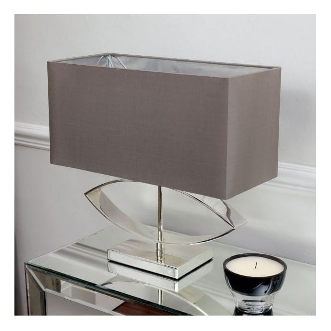 Endon Lighting Tramini Single Light Table Lamp In Cast Metal And Silver Plated Finish