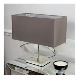 Tramini Single Light Table Lamp In Cast Metal And Silver Plated Finish