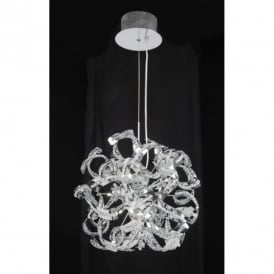 Twist 9 Light Halogen Ceiling Pendant in Polished Chrome Finish