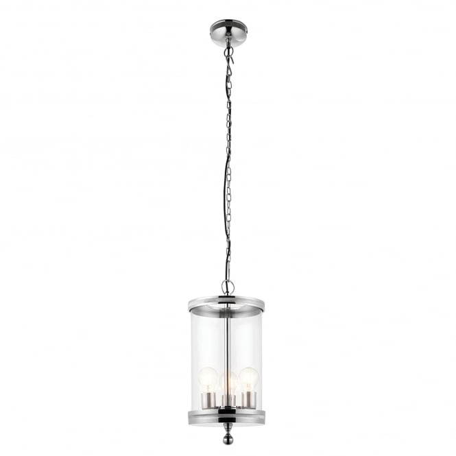 Endon Lighting Vale 3 Light Ceiling Pendant in Polished Nickel Finish with Glass