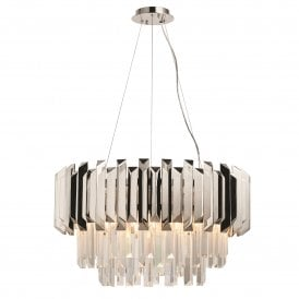 Valetta 6 Light Ceiling Pendant in Polished Nickel Finish with Clear Glass Crystals