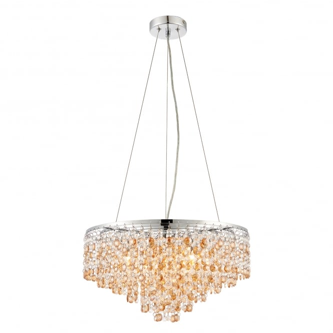 Endon Lighting Vanessa 5 Light Ceiling Pendant in Stainless Steel with Clear and Amber Tinted Crystal Glass