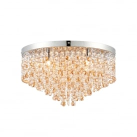 Vanessa 5 Light Semi Flush Ceiling Fitting in Stainless Steel with Clear and Amber Tinted Crystal Glass