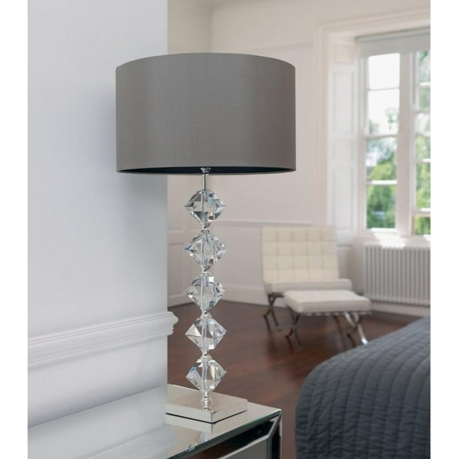 Endon lighting verdone single light table lamp in silver plated and verdone single light table lamp in silver plated and crystal finish with mink coloured shade aloadofball Choice Image