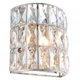 Verina Single Light Wall Fitting in Polished Chrome Finish with Clear Crystal Glass Shade