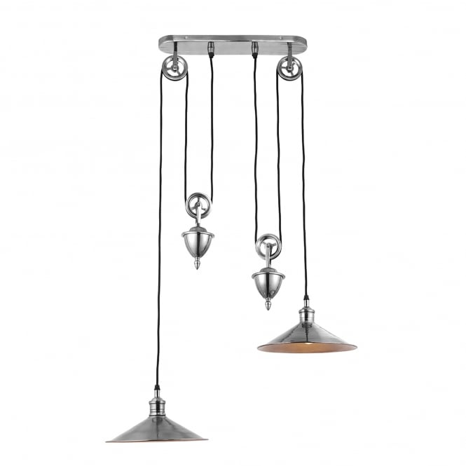 Endon Lighting Victoria 2 Light Rise and Fall Ceiling Pendant in Antique Silver Finish