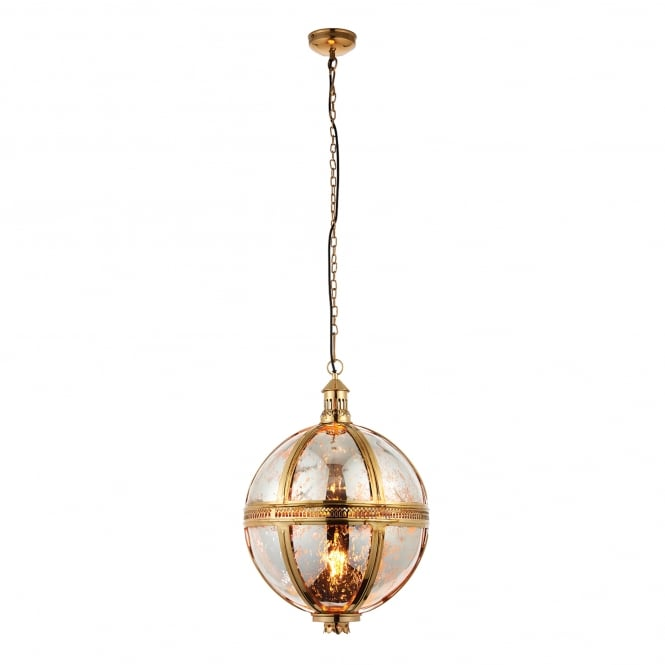 Endon Lighting Vienna Single Light Large Ceiling Pendant in Brass and Mercury Glass