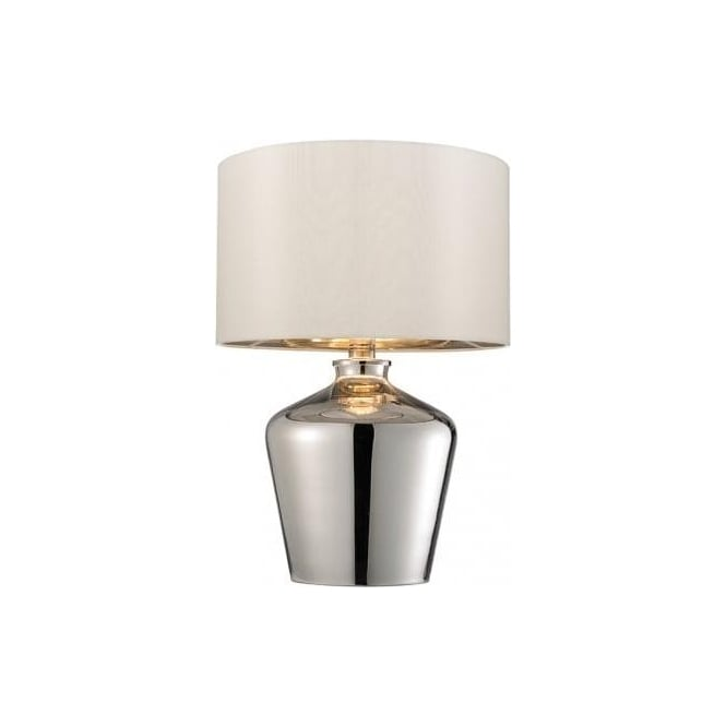 Endon Lighting Waldorf Single Light Table In Polished Chrome Plated Glass Finish With Ivory Faux Silk Shade