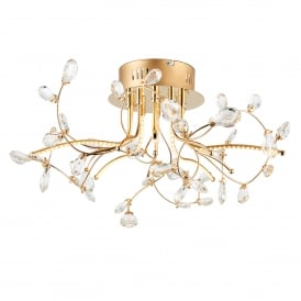 Willa 5 LED Semi Flush Ceiling Fitting in Gold Effect Finish with Clear Crystal Glass