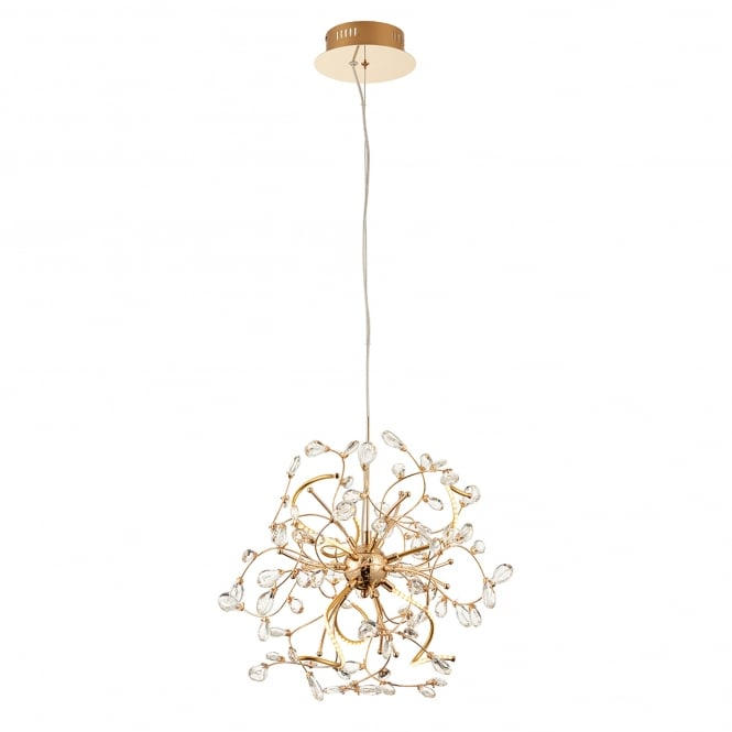 Endon Lighting Willa 6 LED Ceiling Pendant in Gold Effect Finish with Clear Crystal Glass