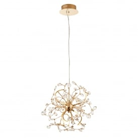 Willa 6 LED Ceiling Pendant in Gold Effect Finish with Clear Crystal Glass