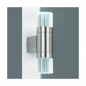 YG-7501 Grant Single Light LED Outdoor Wall Fitting In Stainless Steel And Crystal Finish