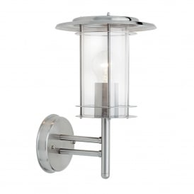 York Single Light Outdoor Wall Fitting in Polished Stainless Steef Finish with Clear Acrylic
