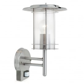 York Single Light PIR Outdoor Wall Fitting in Polished Stainless Steef Finish with Clear Acrylic