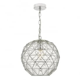 Engela Single Light Ceiling Pendant in Polished Chrome Finish and Glass
