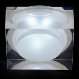 Enluce LED Single Light Square Recessed Bathroom Shower Light In Polished Chrome And Acrylic Finish