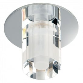 Enluce Single Light Halogen Recessed Bathroom Shower Light In Polished Chrome And Crystal Finish