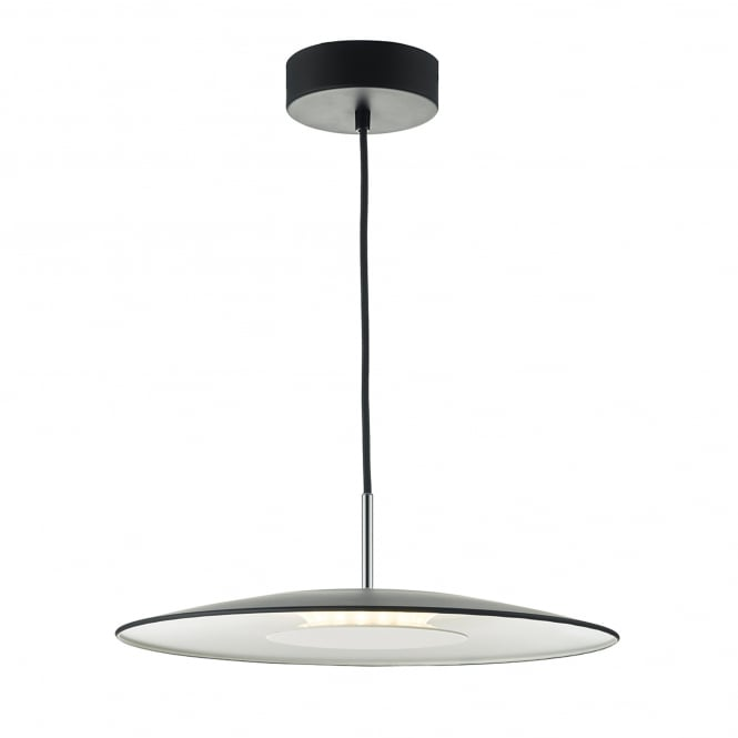Dar Lighting Enoch Single LED Ceiling Pendant in Black and Stainless Steel Finish
