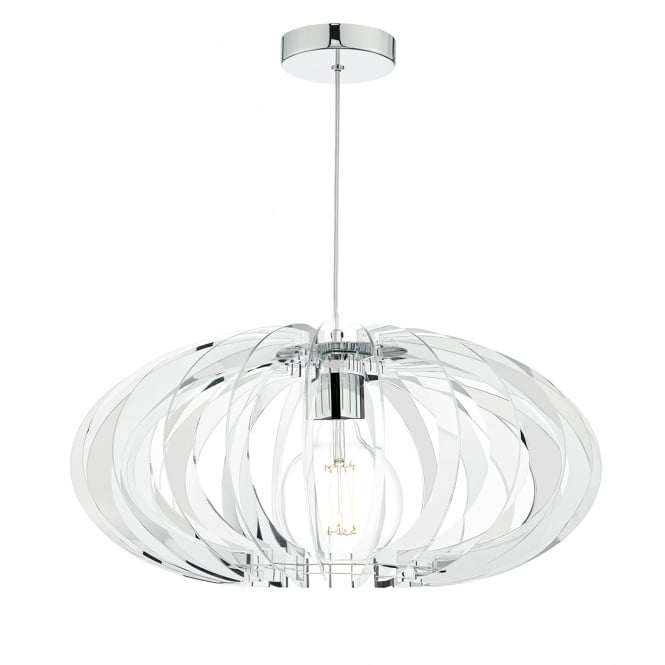 Dar Lighting Enzo Single Light Ceiling Pendant in Polished Chrome Finish with Acrylic