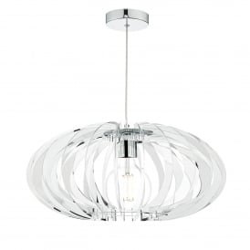 Enzo Single Light Ceiling Pendant in Polished Chrome Finish with Acrylic