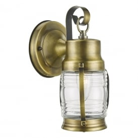 Ernest Single Light Hanging Outdoor Wall Lantern in Antique Brass Finish with Glass
