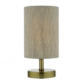 Eryn Single Light Touch Operated Table Lamp In Antique Brass Finish With Taupe Linen Shade