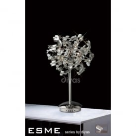 Esme 5 Light Polished Chrome Table Lamp with Asfour Crystals