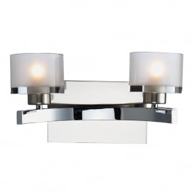 Eton 2 Light Wall Fitting in Satin and Polished Chrome with Glass Shades