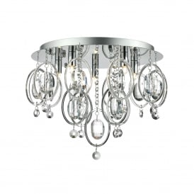 Evangeline 5 Light Flush Ceiling Fitting In Polished Chrome And Crystal Finish