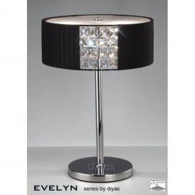 Evelyn 2 Light Polished Chrome Table Lamp with Black Shade