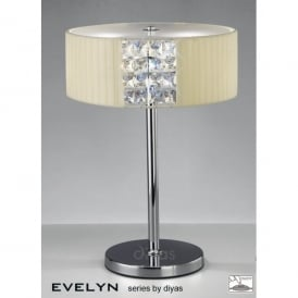 Evelyn 2 Light Polished Chrome Table Lamp with Cream Fabric