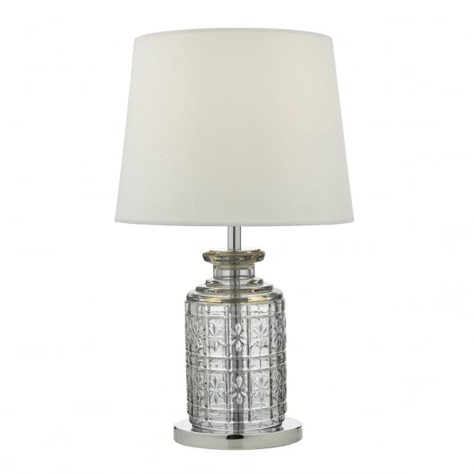 Dar Lighting Evita Single Light Touch Table Lamp In Polished Chrome And Clear Glass Finish