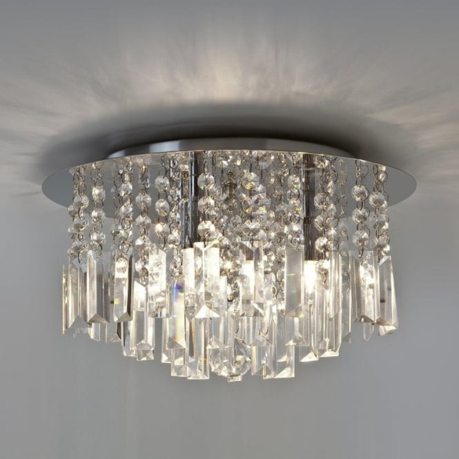 Evros 3 Light Crystal Bathroom Ceiling Fitting In Polished Chrome Finish