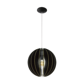 Fabessa Single Light Ceiling Pendant In Satin Nickel Finish With A Black And Gold Wooden Panel Shade