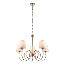 Fabia 5 Light Multi-Arm Ceiling Chandelier in Polished Nickel Finish Complete with Vintage White Silk Shades
