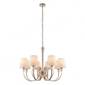 Fabia 8 Light Ceiling Chandelier in Polished Nickel Finish Complete with White Silk Shades