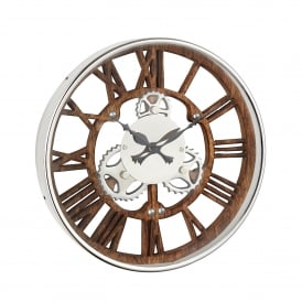 Fairbank Wall Clock in Polished Nickel Plate Finish with Natural Wood