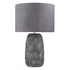 Fairfield Single Light Table Lamp With Grey Ceramic Base And Slate Grey Fabric Shade