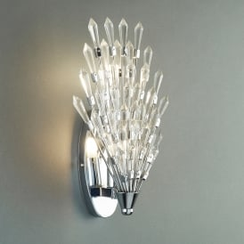 Fan 2 Light Wall Fitting In Polished Chrome Finish With Clear Glass Trim