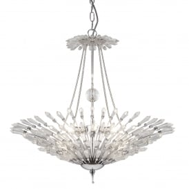 Fan 6 Light Ceiling Pendant In Polished Chrome Finish With Clear Glass Trim