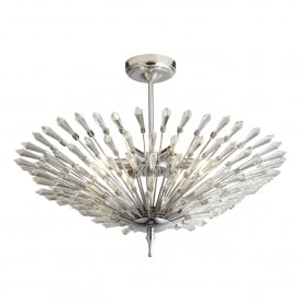 Fan 6 Light Semi Flush Ceiling Fitting In Polished Chrome Finish With Clear Glass Trim