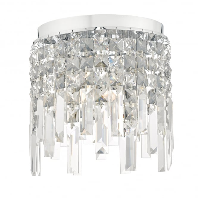 Dar Lighting Fantasy 3 Light Flush Ceiling Fitting in Polished Chrome Finish with Crystals