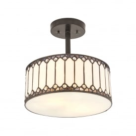 Fargo 2 Light Semi Flush Ceiling Light Pendant in Tiffany Design