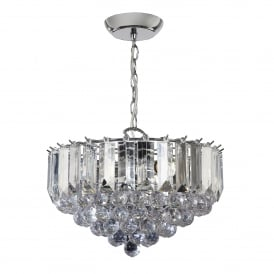 Fargo 3 Light Ceiling Pendant in Chrome Plated Finish and Clear Acrylic