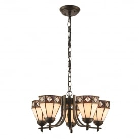 Fargo 5 Light Ceiling Uplighter Pendant in Tiffany Design
