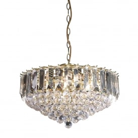 Fargo 6 Light Ceiling Pendant in Brass Effect Finish and Clear Acrylic