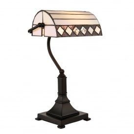 Fargo Single Light Tiffany Bankers Lamp with Art Deco Design and Bronze Stem