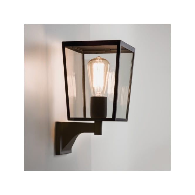 Astro Lighting Faringdon Single Light Outdoor Wall Fitting In Black Finish With Clear Glass Panels