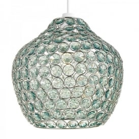 Fawley Ceiling Light Pendant Shade In Polished Chrome Finish And Green Acrylic Beads