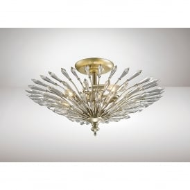Fay 3 Light Semi Flush Ceiling Fitting In Aged Silver And Crystal Finish